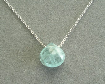 single aquamarine on sterling silver chain