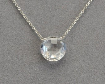 quartz crystal coin pendant on sterling silver chain