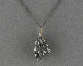 meteorite necklace pendant on oxidized silver chain - small