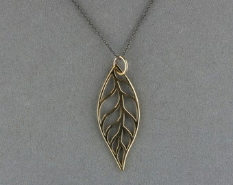 bronze leaf pendant necklace on blackened silver chain