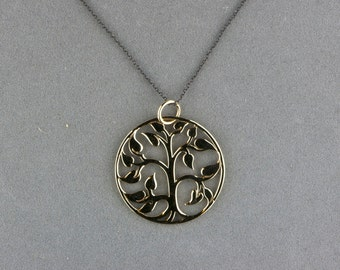 bronze tree of life pendant necklace circle round on blackened silver chain