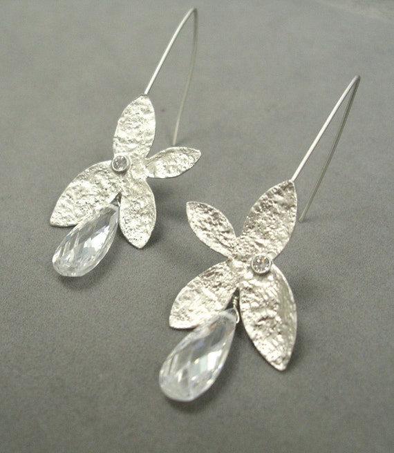 long silver butterfly crystal earrings by rockedjewelry