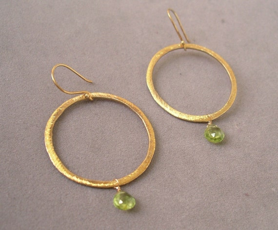 earrings with hammered gold peridot drop by rockedjewelry