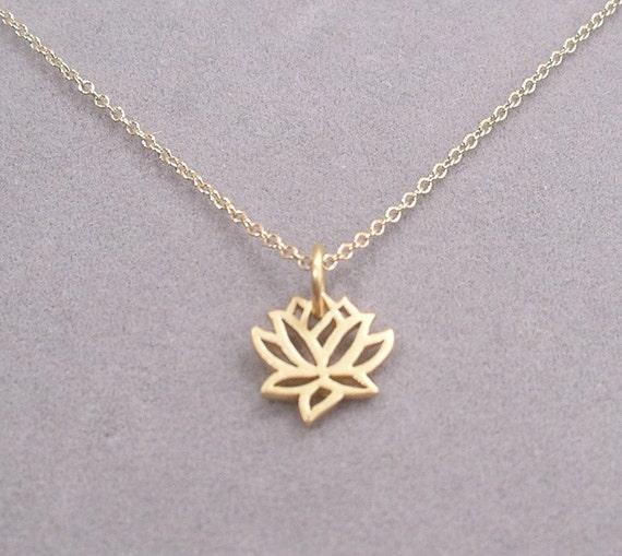 lotus necklace - gold tiny charm