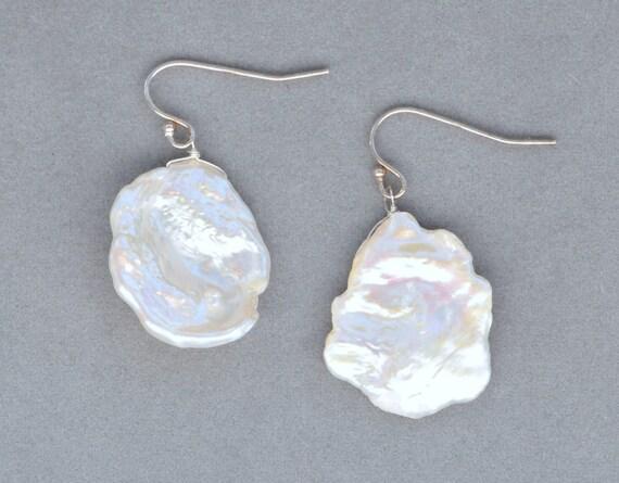 keshi pearl earrings in sterling silver