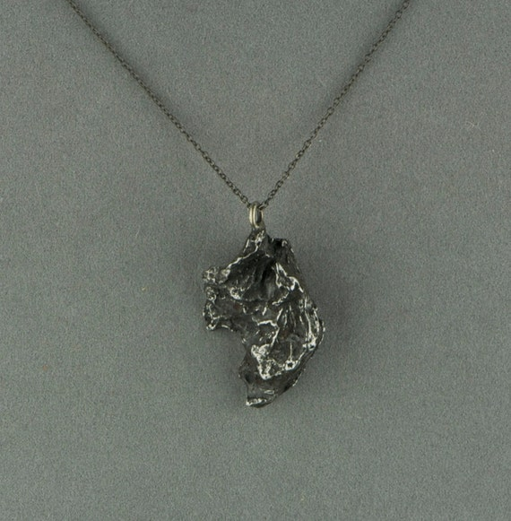 meteorite necklace pendant on oxidized silver chain - large