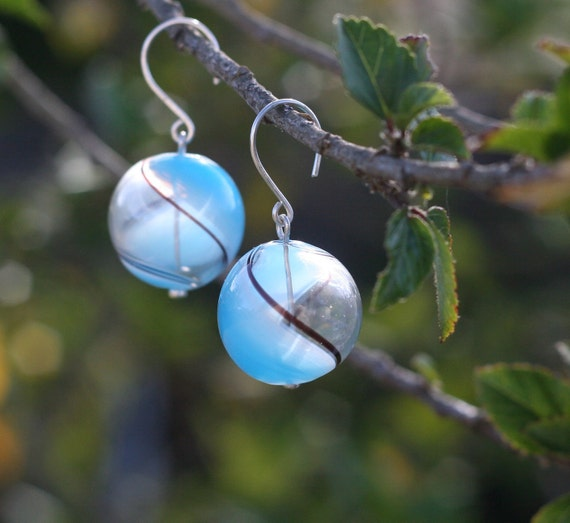 Venitian Sky Blue Blown Glass Earrings with silver earwires, perfect for summer