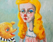 Small Oil painting on canvas, Goldilocks and the little bear