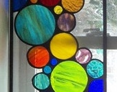 Contemporary Stained Glass Bubble Window / Hanging Colorful (W-11)