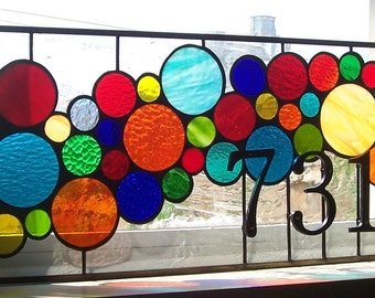 Stained Glass Window Panel / Bright and Bubbly Transom (AM-43)