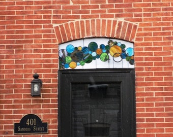 Stained Glass Window ---Transom Contemporary Bubbles with 3D House Number (AM-45)