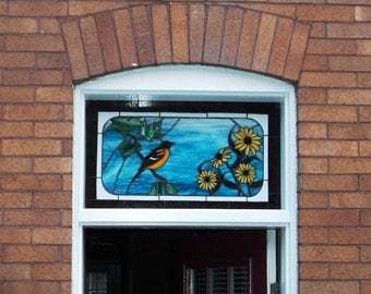 Oriole and Black Eyed Susan Stained Glass Transom (TW-7)