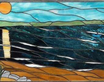Stained Glass - Scenic Beach Design (P-16)