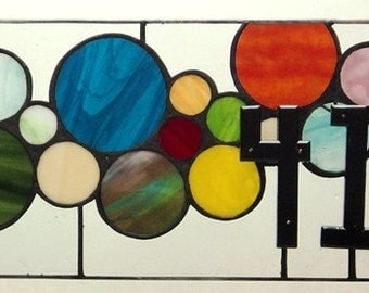 Stained Glass Window Panel / Transom with 3D house numbers (AM-38)
