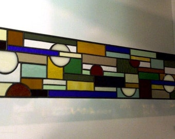 Contemporary Geometric Stained Glass Side Light Panel (S-2)