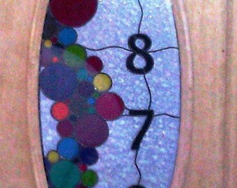 Stained Glass Door Panel  with House Number (AM-18)