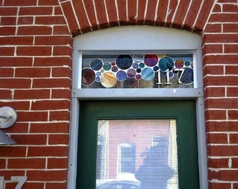Contemporary Stained Glass Window /  Transom with 3D House Numbers (AM-1)
