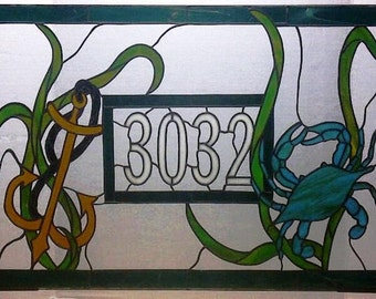 Stained Glass Window Panel / Transom with House Number / Crab and Anchor (AM-2)