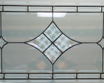 Stained Glass Window Panel / Bevels and Clear / Transom (W-21)