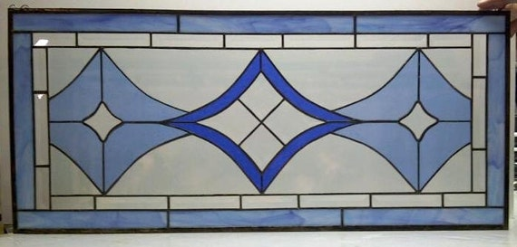 Bevels and Blues Stained Glass Hanging Panel (P-2)