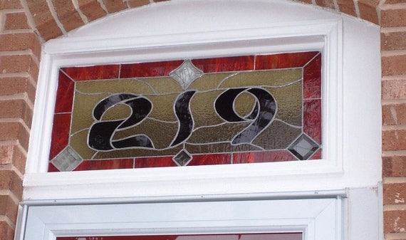 Stained Glass Window Panel  /  Transom - Bold House Number (AM-36)