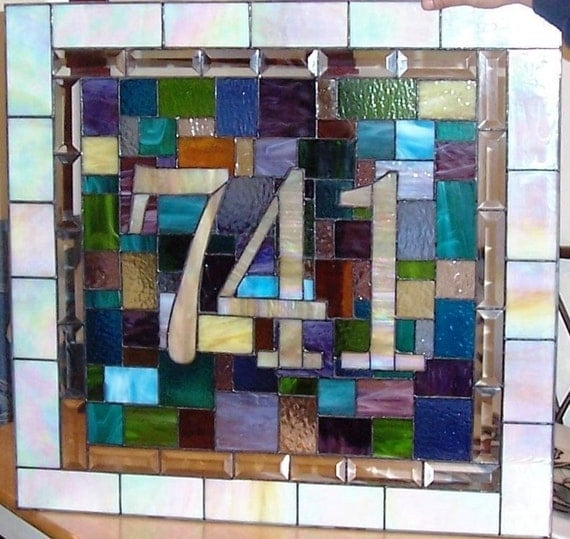 Stained Glass Door Panel - House Number & Colorful Quilt Design (AM-12)