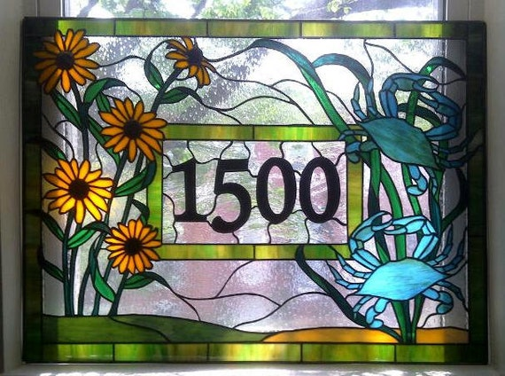 Stained Glass  Window Panel / Crabs and Black Eyed Susans/ Transom with House Numbers (AM-25)
