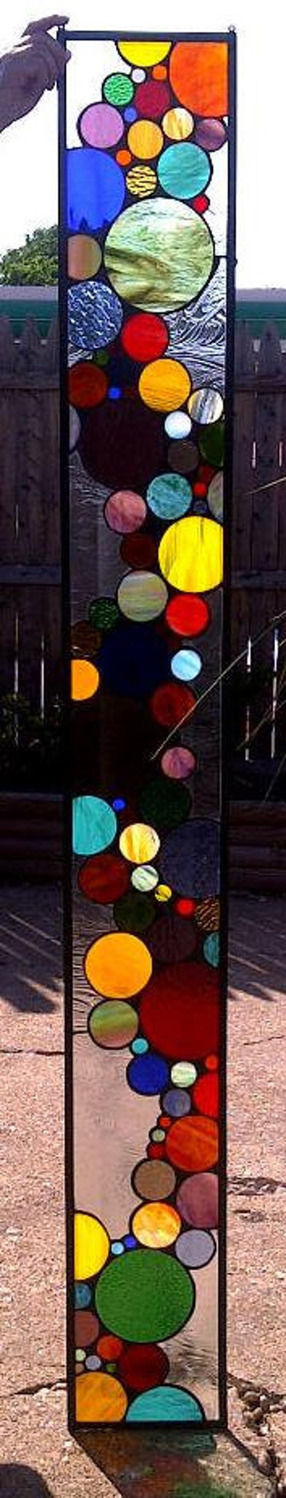 Stained Glass Window Panel / Contemporary Bubble Sidelight (S-3)