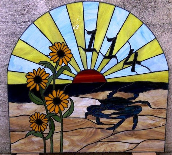 Stained Glass Window / Transom Crab, Black Eyed Susans and Sunset (AM-44)