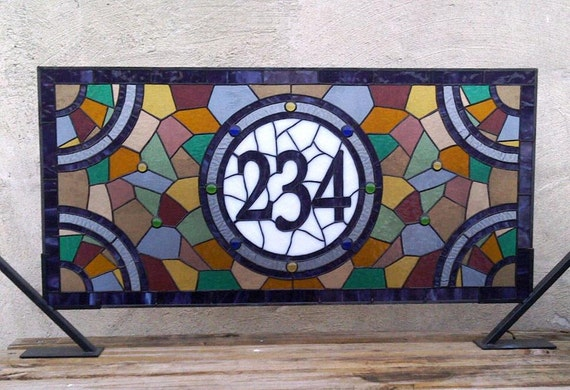 Stained Glass  Window Panel / Colorful and Contemporary Transom with House Numbers (AM-23)