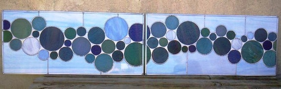 Stained Glass Transom Window Panels - Double Bubbles (TW-19)