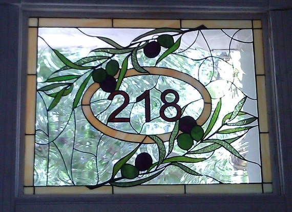 Stained Glass Window Panel Olive Branch Amp House Numbers