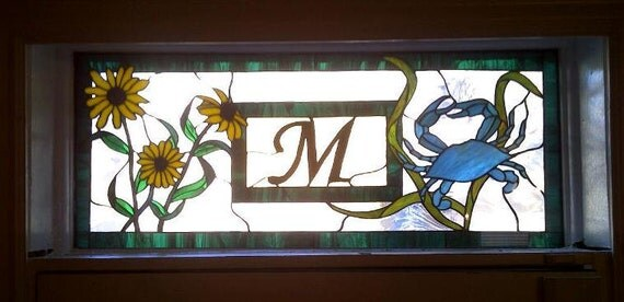 Stained Glass Window - Personalized with Maryland Crab and Black-Eyed-Susan (TW-14)