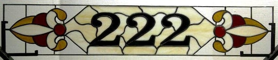 Stained Glass Window Transom - Narrow With House Numbers and Ruby Gems (AM-10)