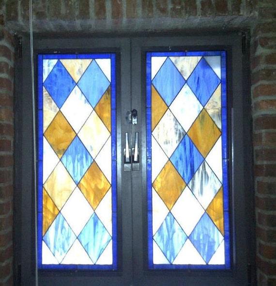 Stained Glass Window Panels ---- Simplistic Diamond Design (W-2)