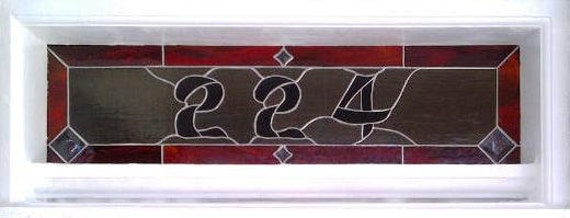 Stained Glass Window Panel - Transom / Bold House Numbers 224 (AM-6)