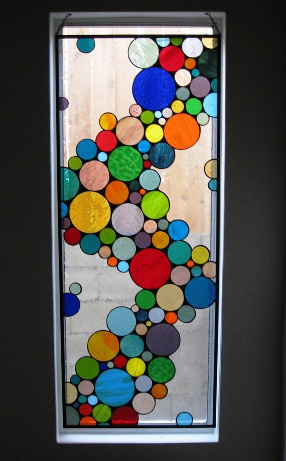 "Contemporary Stained Glass Hanging Panel / ""Wave of Color"" (W-10)"
