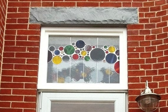 Stained Glass Window Panel / Transom - Contemporary Bubbles (TW-10)