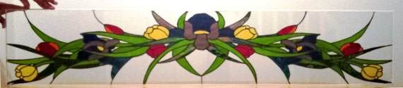 Floral Arch/ Stained Glass Transom and sidelights. (TW-25)