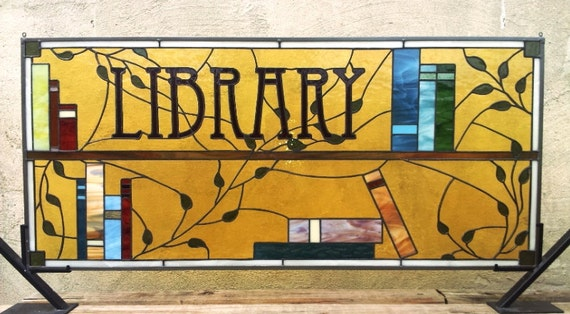 Distinguished Stained Glass Library Window / Books and leaves (W-24)