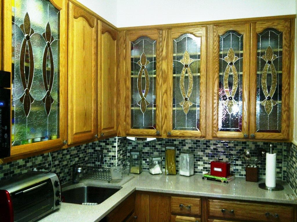 Elegant Stained Glass Custom Kitchen Cabinet Inserts Ci 2