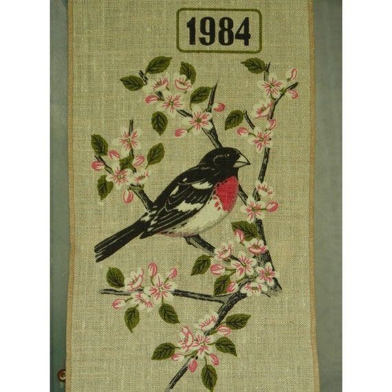 RESERVED for Butterfly59  Tea Towel Calender with Rose Breasted Grosbeak