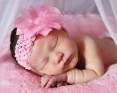 Baby Headbands - Baby Girl Headbands - Baby Headband - Pink FlowerHeadband - Newborn Headbands - Baby Bow Headband(SP)