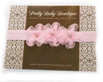 Pink Baby Headband - Infant Sheer Flower Headband - Toddler Stretch Pink Headband - Baby Girl Photo Prop