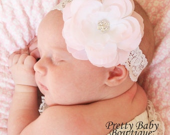 Baby Headband - Pale Pink Flower Headband - Baby Girl Lace Headband.... White Lace Headband