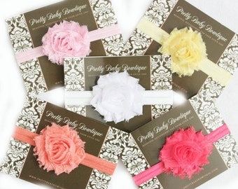 Baby Headbands- Set of 5 Shabby Pastle Headbands- Flower Baby Headband- Baby Shower Gift