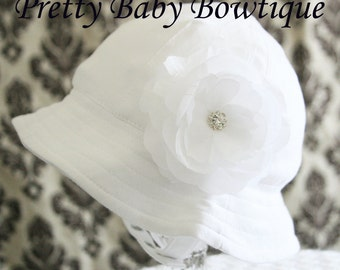 Baby Sun Hat - Easter Bonnet - Baby Girl Bucket Hat - (Removeable) White Flower Clip With White Sun Hat- Fits (You Pick Size)