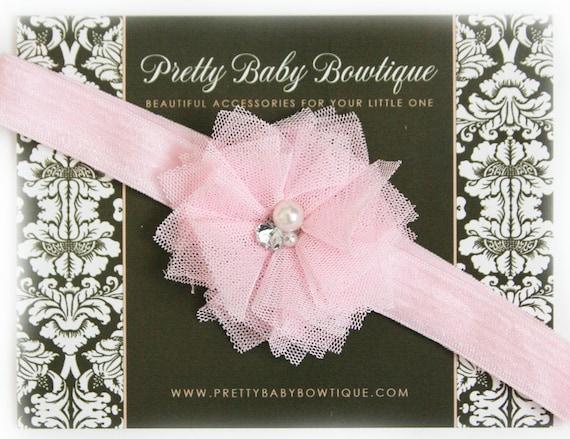 Baby Headband - Pink Headband- Baby Girl Headband - Infant Headband - Flower Headband - Photo Prop