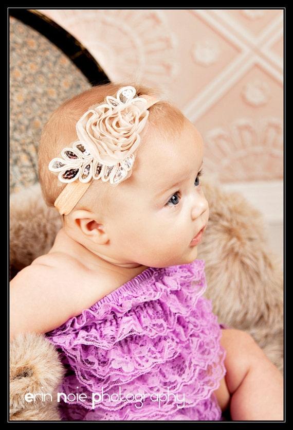 Newborn Headband - Baby Girl Stretch Headband - Infant Bow Headband - Girl Hair Band (D)