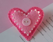 Pink heart  felt brooch